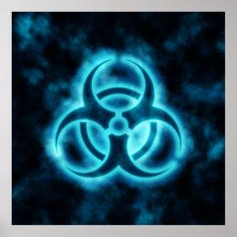 Blue-White Glow Biohazard Symbol Poster