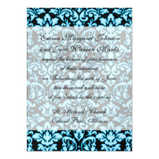 blue white glow on black damask pattern 5.5x7.5 paper invitation card