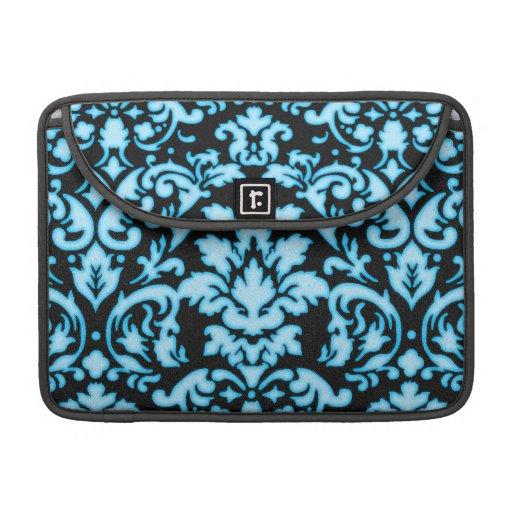 blue white glow on black damask pattern MacBook pro sleeves
