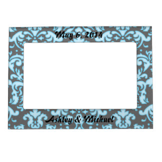 blue white glow on black damask pattern magnetic frame