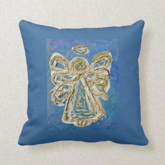 Blue, White, Gold Angel Decorative Throw Pillow