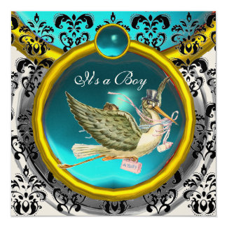 BLUE WHITE GOLD DAMASK STORK BABY SHOWER MONOGRAM CARD