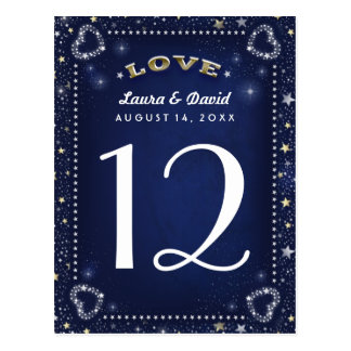 Blue White & Gold Love & Stars Table Number Cards