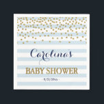 "Blue White Gold Stripe Confetti Baby Boy Shower Napkin<br><div class=""desc"">Customizable baby shower paper napkins featuring white and blue stripes and faux confetti glitter. Complete your theme with matching invitation,  signs,  decorations and more from my Light Blue and Gold Collection.</div>"