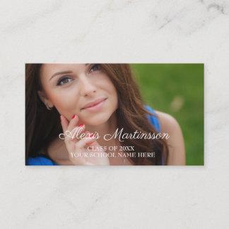 Blue White Graduation Photo Profile Insert Card