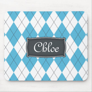 Blue White Gray Argyle with Name Mouse Pad