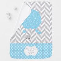 Blue, White Gray Elephant Baby Boy Baby Blanket