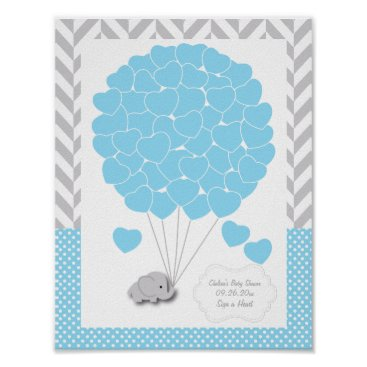 Valentines Themed Blue, White Gray Elephant Baby Shower 2 - Guest Poster