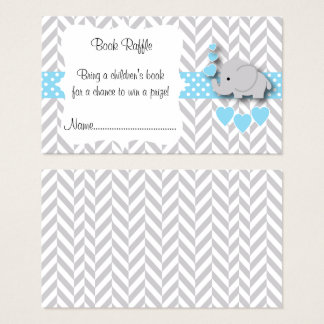 Blue, White Gray Elephant Baby Shower Book Raffle Business Card