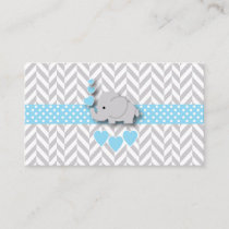 Blue White Gray Elephant Baby Shower Book Request Enclosure Card