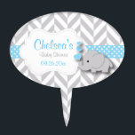 "Blue, White Gray Elephant Baby Shower Cake Topper<br><div class=""desc"">Blue, White Gray Elephant Baby Shower Cake Pick. 100% Customizable. Ready to Fill in the box(es) or Click on the CUSTOMIZE button to add, move, delete, resize or change any of the font or graphics. Made with high resolution vector and/or digital graphics for a professional print. NOTE: (THIS IS A...</div>"