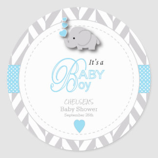 Blue, White Gray Elephant Baby Shower Classic Round Sticker