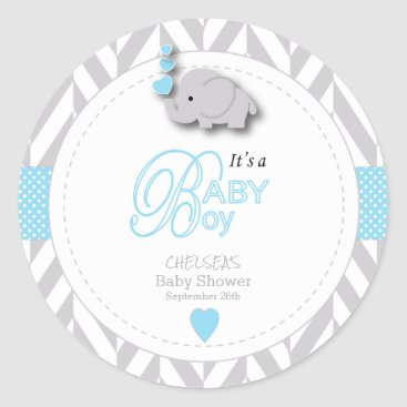 Toddler & Baby themed Blue, White Gray Elephant Baby Shower Classic Round Sticker