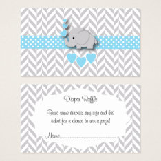 Blue White Gray Elephant Baby Shower Diaper Raffle Business Card at Zazzle