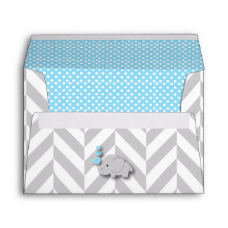 Blue, White Gray Elephant Baby Shower Envelope