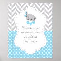 Blue, White Gray Elephant Baby Shower Poster
