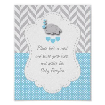 Valentines Themed Blue, White Gray Elephant Baby Shower Poster