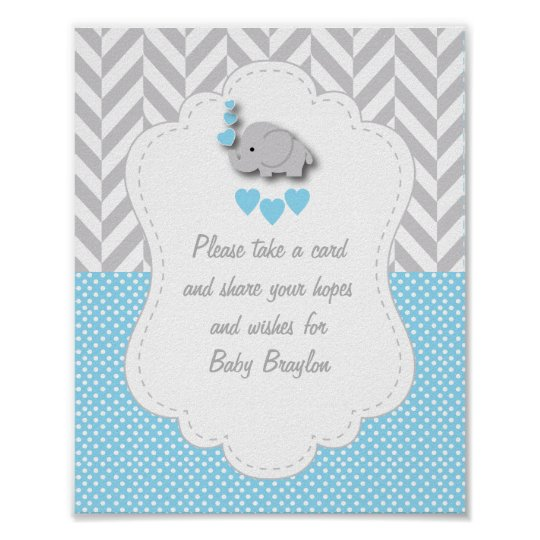 Blue White Gray Elephant Baby Shower Poster Zazzlecom