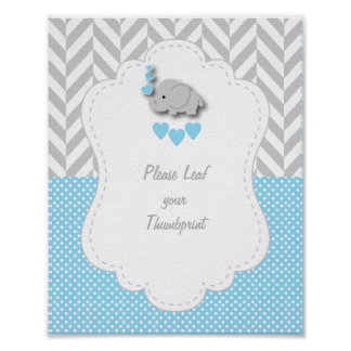 Blue, White Gray Elephant Baby Shower Poster