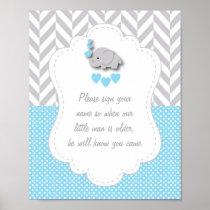 Blue, White Gray Elephant Baby Shower Poster 2