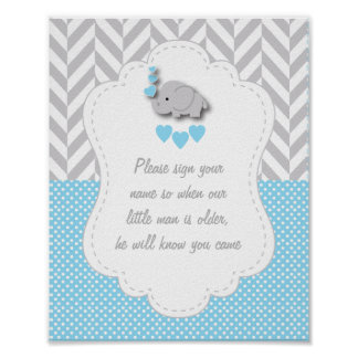 Blue, White Gray Elephant Baby Shower Poster 2