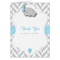 Blue, White Gray Elephant Baby Shower Thank You