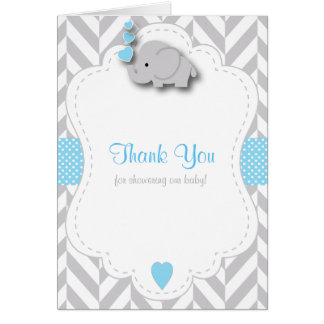 Blue, White Gray Elephant Baby Shower Thank You Card