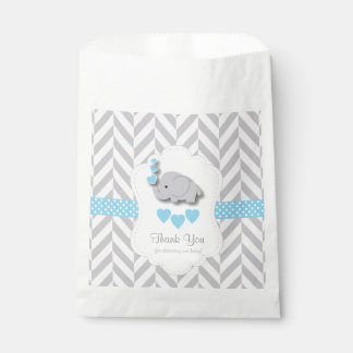 Blue, White Gray Elephant Baby Shower Thank You Favor Bag