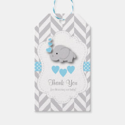 Blue, White Gray Elephant Baby Shower Thank You Gift Tags