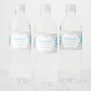 15d25a35b2 Blue, White Gray Elephant Baby Shower Water Bottle Label