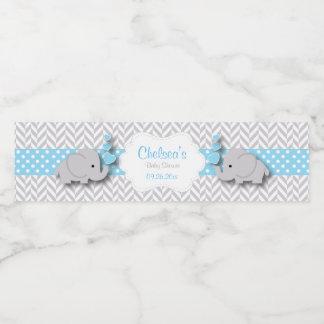 Blue, White Gray Elephant Baby Shower Water Bottle Label