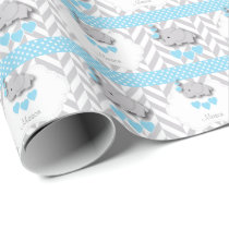 Blue, White Gray Elephant Baby Shower Wrapping Paper