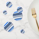 [ Thumbnail: Blue/White/Gray Lines/Stripes Pattern Confetti ]