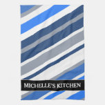[ Thumbnail: Blue/White/Gray Lines/Stripes Pattern; Custom Name Kitchen Towel ]