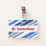 [ Thumbnail: Blue/White/Gray Lines/Stripes Pattern + Name Badge ]
