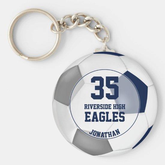 blue white gray soccer ball boys team spirit keychain