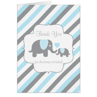 Blue, White Gray Stripe Elephant  Thank You Card