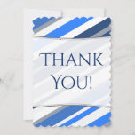 [ Thumbnail: Blue/White/Gray Stripes Pattern Thank-You Card ]