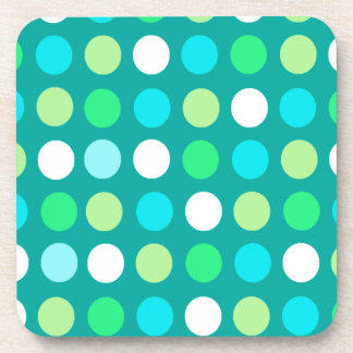 Blue, White & Green Dots Drink Coaster