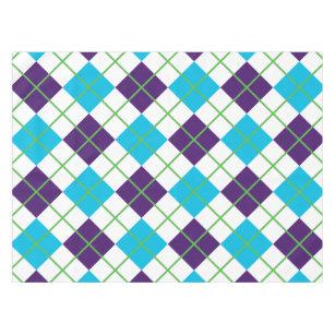 Blue, White, Green, Preppy Argyle Tablecloth