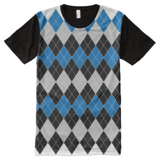Blue, White, Grey, and Black Argyle All Over Print All-Over Print T-shirt