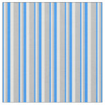 [ Thumbnail: Blue, White & Grey Pattern Fabric ]