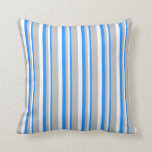 [ Thumbnail: Blue, White & Grey Pattern Throw Pillow ]