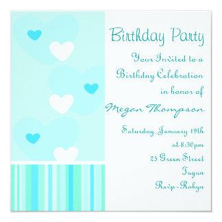 Blue & White Heart Design Birthday Invitation