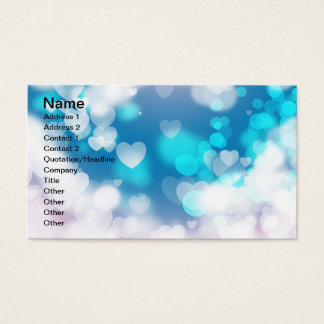 BLUE WHITE HEARTS LAYERS BOKEH DIGITAL WALLPAPER BUSINESS CARD