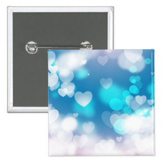 BLUE WHITE HEARTS LAYERS BOKEH DIGITAL WALLPAPER 2 INCH SQUARE BUTTON