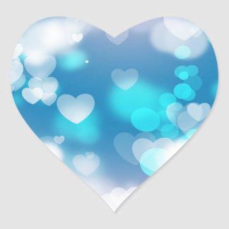 BLUE WHITE HEARTS LAYERS BOKEH DIGITAL WALLPAPER HEART STICKER