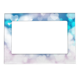 BLUE WHITE HEARTS LAYERS BOKEH DIGITAL WALLPAPER MAGNETIC FRAMES
