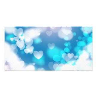 BLUE WHITE HEARTS LAYERS BOKEH DIGITAL WALLPAPER CUSTOM PHOTO CARD