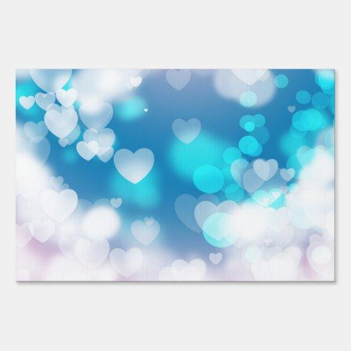 BLUE WHITE HEARTS LAYERS BOKEH DIGITAL WALLPAPER LAWN SIGNS
